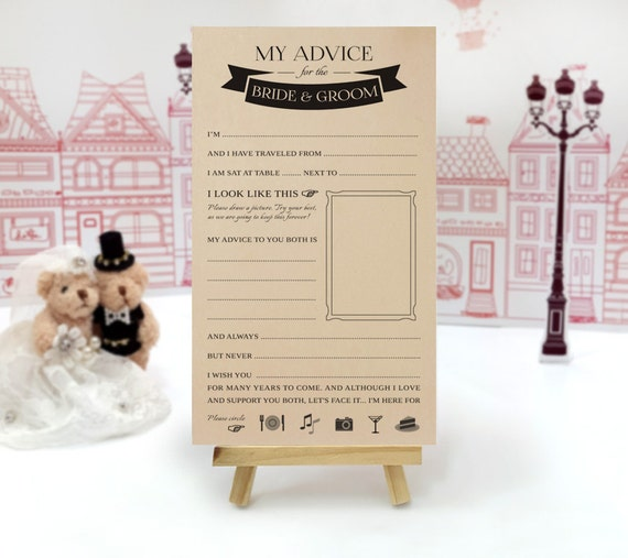 Wedding Guest Book Alternative Funny Advice Cards Printed On