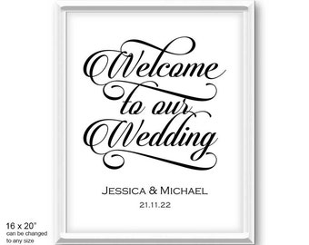 welcome to our wedding sign etsy. Black Bedroom Furniture Sets. Home Design Ideas