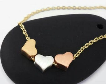 Mothers Day Gift,Minimal Necklace,Statement Necklace, Heart Necklace,Tiny Heart Necklace ,Tri Color Necklace,3 Hearts Necklace,Wife Gift