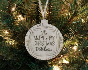Christmas Ornament, Personalized Ornament, Custom Christmas Ornament, Wood Engraved Ornament, Wood Ornament, Monogram --ORN-WOOD-McWhiter