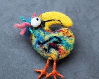 Bird Felted Brooch