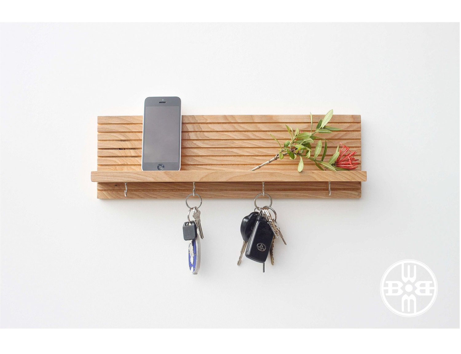 Key holder with shelf modern shelf jewelry rack key - Key racks for wall ...