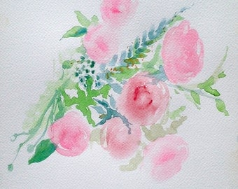 Pastel Eustoma Bouquet Watercolour Painting for a Living Room Bedroom or a Kitchen Perfect Decorative Element for your Space Watercolour Art