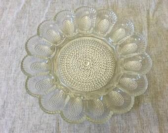 Vintage Indiana Glass Pressed Glass Thousand Eyes Deviled Egg Plate, Hobnail Egg Platter