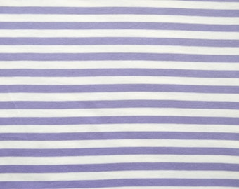ORGANIC lilac & white striped cotton jersey knit fabric. Per 1/2 metre.