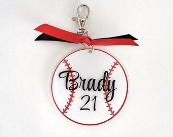 Personalized Baseball Bag Tag - custom luggage tag - back to school tag - backpack tag - gym bag tag - personalized bag tag - sports bag tag