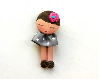 REDUCED - Hand Painted Brooch Badge Doll