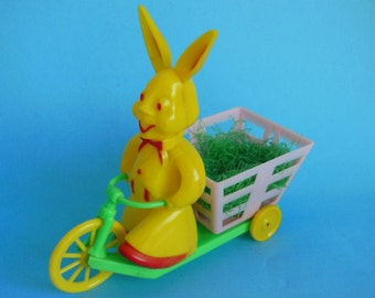Vintage 1950's Rosbro Plastic Easter Bunny Riding Tricycle Candy Container