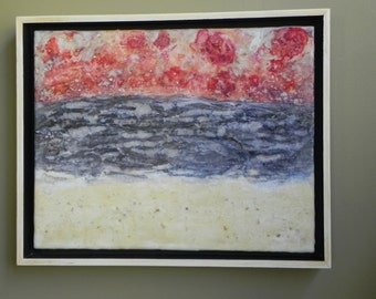 Scarlet Horizon -  Encaustic mixed media abstract painting,  ocean, beach, sky, beeswax, alcohol ink