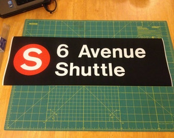Vintage NYC Subway Roll Sign Piece - 6 Avenue Shuttle