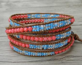 bead wrap bracelet coral bead bracelet gemstone bracelet boho bracelet gypsy leather wrap bracelet multi color seed bead bracelet SL-0287