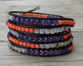 Bead wrap bracelet gemstone wrap bracelet corals agate amethyst bead bracelet Leather wrap bracelet Boho leather bracelet Jewelry SL-0311