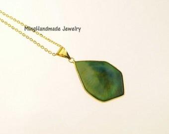 Flat Hexagon Agate Slice Pendant Necklace Gold Edge Blue Natural Stone Transparent Gems Chain Necklace TNK-0032