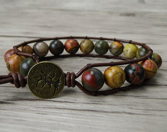 Mens wrap bracelet boho beaded bracelet picasso jasper bead bracelet gypsy wrap bracelet beads leather bracelet gemstone bracelet SL-0178