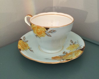 ON SALE - Aynsley England Tea Cup Hand Numbered Aqua Blue with Yellow Rose