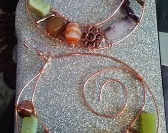 Semi-Precious Stone HOOP Earrings