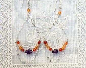 Carnelian and amethyst dangle earrings