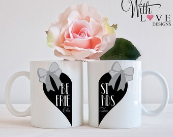 Set Of Two Best Friends Forever BFF Love Heart Coffee Mug Tea Cup Personalised Custom Birthday Present Gift