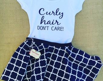 Girls circle skirt . Curly hair don't care.. toddler/Infant/girls .. Navy blue