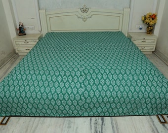 Indian Cotton handstitched Bed Sheet Bedspread Queen Size Bed Cover Throw Green Color Throw