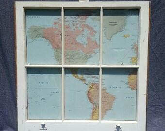 World Map Window Art