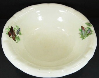 """Wash Bowl w/Fish Transfers Decals Large 15 1/2"""" Unknown Maker"""