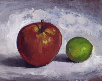 Still life with Apple and Lime