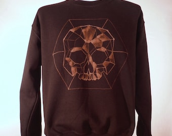 Bleach Geometric Skull Sweatshirt Hand Drawn