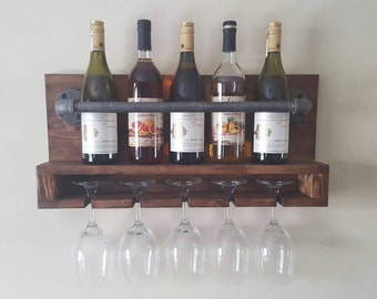 Rustic wine rack, home bar, industrial wine rack, rustic decor, wine glass.
