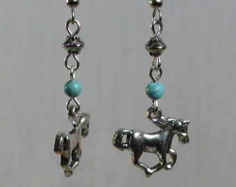 Turquoise & Silver Horse Earrings