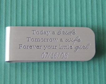 Father of the Bride Money Clip, Engraved Aluminum, Customized Money Clip, Personalized Money Clip, Gift for Dad, Wedding Day Gift