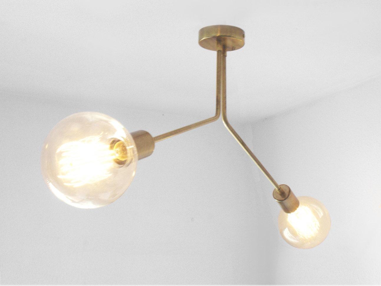 Semi Flush Ceiling Lights Glass Brass Fixture Bathroom: Brass Mid Century 2 Arm Ceiling Semi Flush Mount / Wall