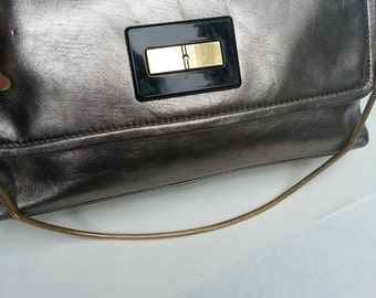 Silver/Pewter Leather Talbots Handbag