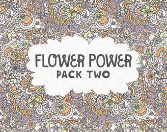 INSTANT DOWNLOAD! Flower Power Pack 2: 5 Digital Scrapbook Papers