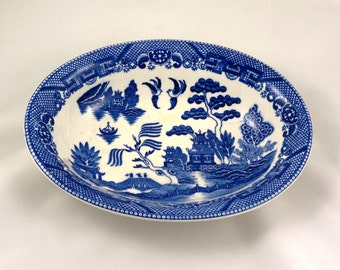 Blue Willow Serving Bowl - Blue and White, Antique