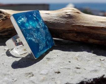 Big, chunky ring. Adjustable ring. Resin ring. Turquoise ring. Silver flake ring.