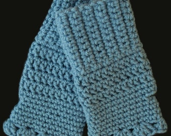Crochet Fingerless Gloves - Periwinkle/Medium Blue