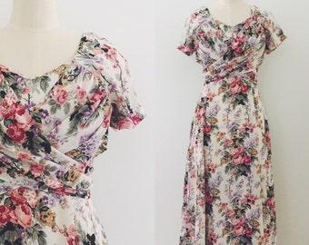 Vintage 90's floral cross over dress