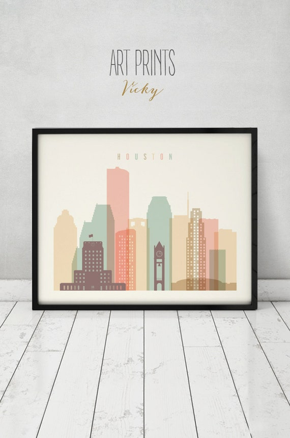 Houston Print Poster Wall Art Texas Cityscape Houston