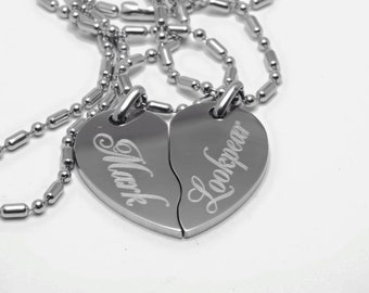 Heart Necklace Stainless steel Free Engraving Included