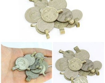 4Pcs Afghan Kuchi Mix Coins - Vintage Coins - Belly Dance Costuming Pendants -
