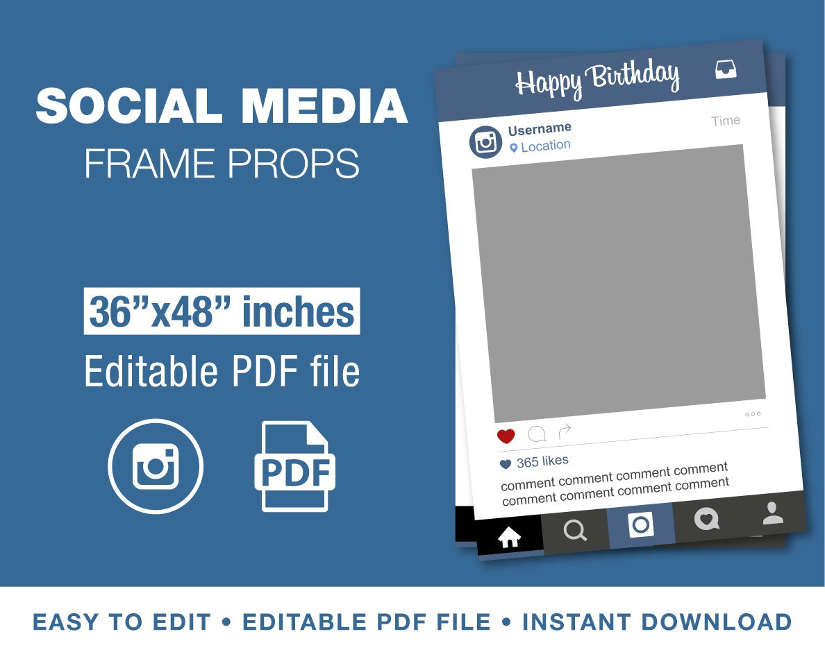 36x48 Instagram Style Photo Prop Frame Template By