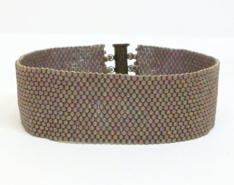 Contemporary Beadwoven Cuff Bracelet of Matt Bronze Rainbow Delica Beads  Peyote  Seed Bead Bracelet  Modern OOAK Jewelry