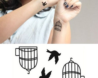 Birds & Cages - Temporary Tattoos // Body Art // Cool // Tumblr Style // Summer // Party