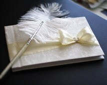 Wedding Guest Book with Pen \ Custom Made in Champagne Ivory with Handmade Bow \ Brooch Accent \ Ivory Ostrich Feather Pen \ Rhinestone Pen