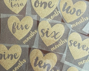 New baby christmas etsy diy monthly birthday sparkly iron on decals baby shower gift do it yourself baby solutioingenieria Choice Image