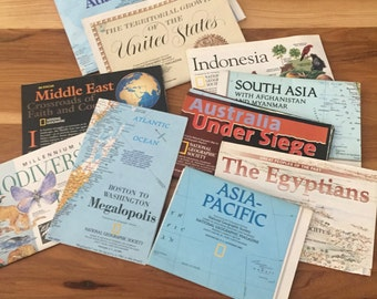 Set of 10 National Geographic Maps