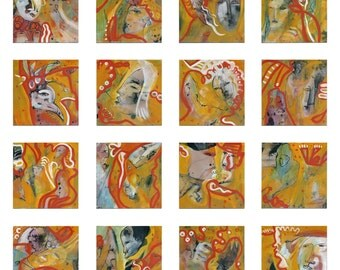 """16-teiliges original 16 x 20/20 cm (7.87/7.87 inch) image multipart - art large-format XXL - abstract painting """"Human life"""""""