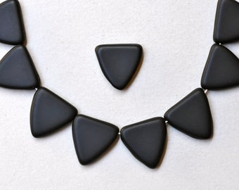 17mm Czech Glass Triangle Beads - Various Matte Colors Available - Qty 10
