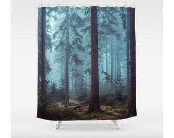 Shower Curtain Trees Forest Wilderness Woods Wanderlust Nature Bathroom Decor Bohemian